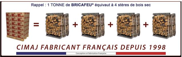 1 tonne de bois de chauffage densifié bricafeu équivaut à environ 4 stères de bois de chauffage sec